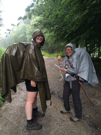 Sophie and Yuning in their stylish rain gear